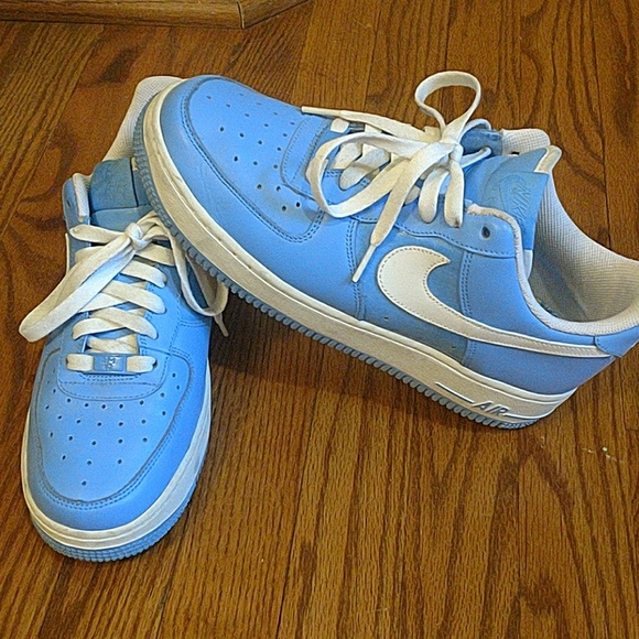 Nike low top Air Force ones. Baby blue.